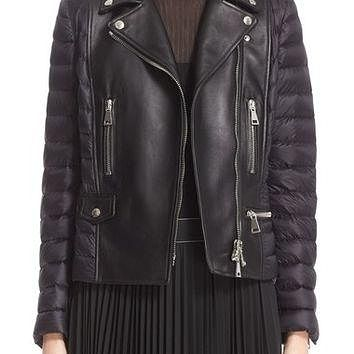 Moncler Souci Leather & Down Moto Jacket | Nordstrom