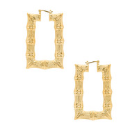 joolz by Martha Calvo Square Bamboo Hoops in Gold