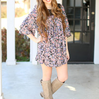 Flower Child Tunic Dress - Navy and Pink