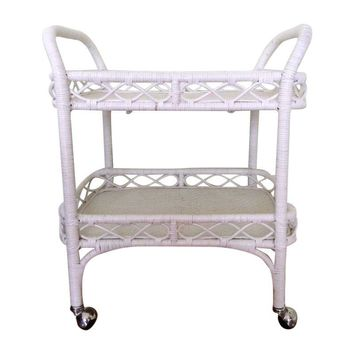 Pre-owned Vintage White Rattan Bar Cart