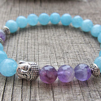 Aquamarine bracelet March birthstone Pisces birthstone Buddha bracelet Throat chakra bracelet Aquamarine jewellery Courage and Protection