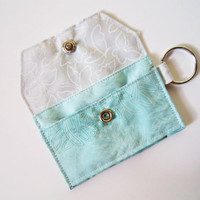 Mini key chain wallet/ simple ID Key chain/ Business card holder/ keychain coin purse / aqua abstract flower and butterflies