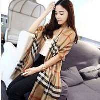 England Style Plaid Cotton Linen King Size Summer Scarf [6047067457]
