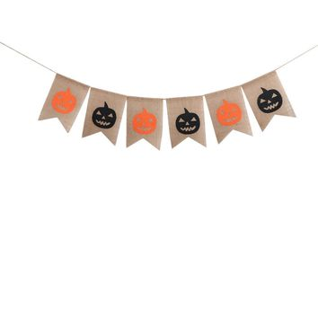 2M Linen Halloween Pumpkin Bunting Banner Party Burgee Banners for Home Haunt House Decoration