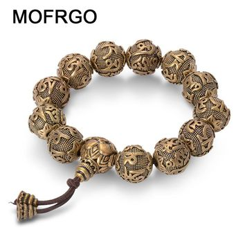 Vintage Tibetan Buddhism Brass Charm Bracelet Six Words Mantras OM MANI PADME HUM Good Luck Amulets Beads Bracelet For Men