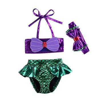 Baby Swimwear for Girls Two-piece Mermaid Children's Swimsuit Polyester Material Bathing Suit for Infant Girls 0-2 Years