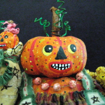 "Pumpkin-OOAK Primitive Folk Art Pumpkin Head--""PEARL & Baby Peggy""  Pumpty Dumpty-Original Handcrafted Design w/Baby, Purse and Pearls."
