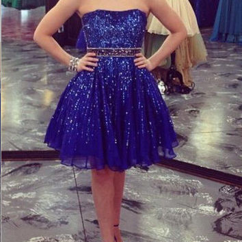 Homecoming Dress,Dramatic Strapless Knee-length Sequins Chiffon Prom Dress