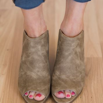 Sugar Peppermint Open Toe Block Heels- Taupe