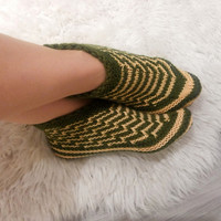Hand knit booties, women 's ankle socks, wool slippers, knitted home shoes, olive green yellow stripes cozy socks. Winter sale! 20% OFF