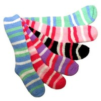 Luxury Divas Long Striped Assorted 6 Pack Thick Fuzzy Slipper Socks