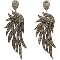 Black Pave Diamond Fire Wing Drop Earrings