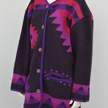 Vintage 80s Black Southwestern Boiled Wool Oversized Jacket, Native American Print, Bulky Long Jacket, Size XL