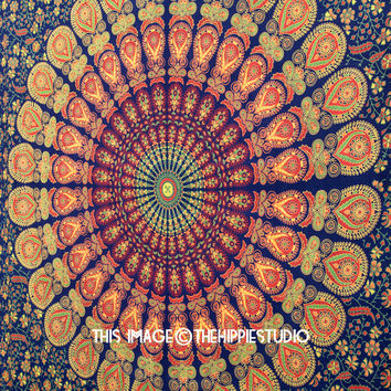 Hippie Tapestry Wall Hanging, Mandala Tapestries, Indian Boho Tapestry, Bohemian Tapestry, Wall Tapestries, Dorm Tapestry Throw, Wall Decor