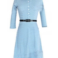 Blue Polka Dot Flare Midi Dress
