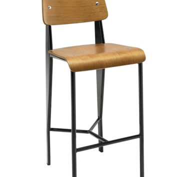 Prouve Style Counter Stool - Walnut and Black