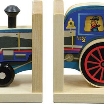Mighty Driver Train Wooden Bookends