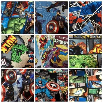 50*110cm The Avengers Super hero Captain America Spider Man Cotton Sewing Fabric DIY Handmade Material Hometextile Patchwork