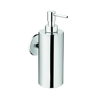 Round Self Adhesive Pump Soap Lotion Dispenser for Bathroom, Brass Chrome