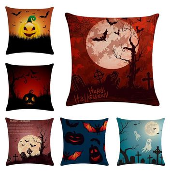Hot Sale Alice Dreams Cute Cat Magical Moon Night Wonderland Emerald Forest Witches Halloween Dance Cushion Cover Pillow Case
