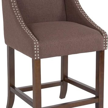 "Carmel Series 24"" High Transitional Walnut Counter Height Stool with Accent Nail Trim"