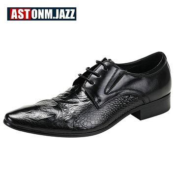 Hight Qulaity Mens Genuine Leather Pointed Toe Dress Shoes Crocodile Print Oxfords Business Man Lace Up Wedding Shoes