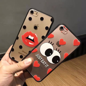 Phone cases Kylie Jenner Lipstick lip Big Eyes Emboss Tpu Case Cover for Apple iphone 6 6s 7 7 Plus with kylie coque
