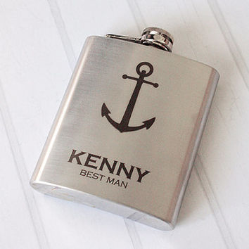 Personalized Groomsmen gift Best man gift Nautical flask Laser Engraved Anchor Groomsmen flask Personalized gifts for men 7oz