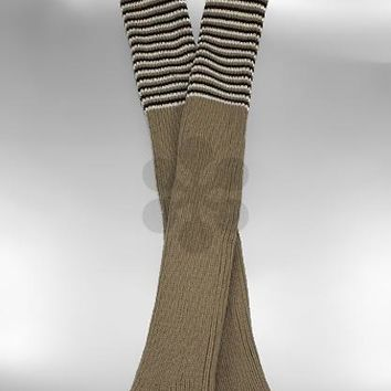 Stripe Pattern Knit Long Boot Cuffs