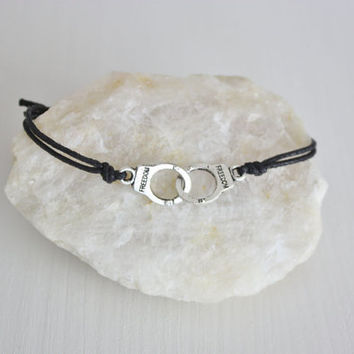 Handcuff Bracelet or Anklet, Smooth Finish in Tibetan Silver