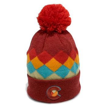 Argyle Colorado Mountain Red Rainbow Beanie