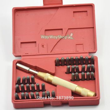 "38 Steel Stamp 3mm Automatic Hand Letter 1/8"" Punch Alphabet Number Die Kit Set Metal Letter/Number Punch"