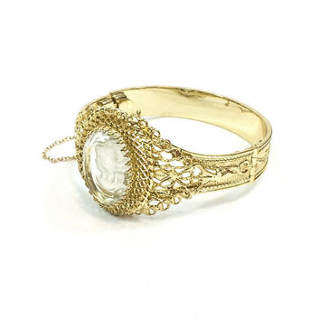 Gold Cameo Bangle Bracelet, Filigree & Clear Intaglio Cameo, Whiting Davis Victorian Revival, Wedding Bridal Jewelry, 1950s Vintage Jewelry