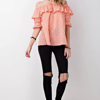 Ruffled Off Shoulder Printed Top