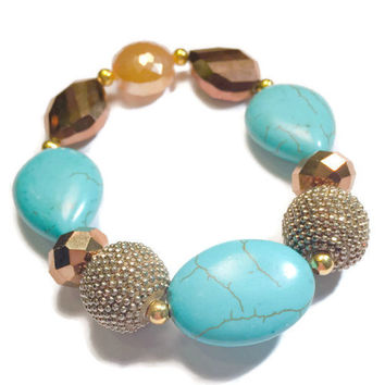 Turquois and Gold Glass Beaded Bracelet