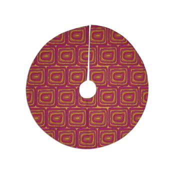 "Nandita Singh ""Bright Squares"" Red Pink Tree Skirt"