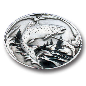 Fish & Stream Enameled Belt Buckle