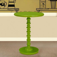 Round Wood Spindle Decorative End/Side Table - Green