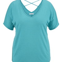 Plus Size - Open Cross Back Dolman Tee