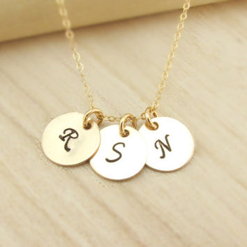 1 2 3 4 5 Initial Necklace, 14k Gold Initial Jewelry, Personalized Gold Necklace, Monogram Discs, Bridesmaids Gift, 3 Initial Disc Necklace