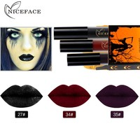 3pcs Dark Waterproof Lipsticks