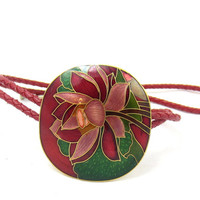 Red Leather Bolo Tie Cloisonne Red Green Enamel Large Slide Flower Western Wear Country Attire Bola Tie Mens Fashion Accessory Fathers Day