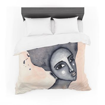 """Stacey-Ann Cole """"Yearning African American Art"""" Beige Black Featherweight Duvet Cover"""