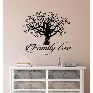 Vinyl Wall Decal Family Tree Word Logo Quote Tree Of Life Stickers (3126ig)