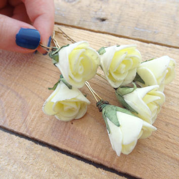 Yellow  Rose Wedding Hair Pins, Ivory Bridal Hair Pins, Hair Accessories, Bridesmaid Hair, Woodland - Set of 8
