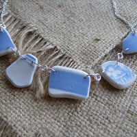 Scottish sea pottery necklace... sea pottery necklace in light blue and white 18'' length & sterling chain, sea pottery necklace