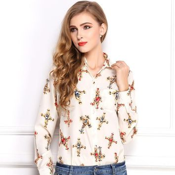Free Shipping 2015 New Arrival Turn-down Collar Female Printed Cross Pattern Temperament Long Sleeved Shirt Chiffon Blouse