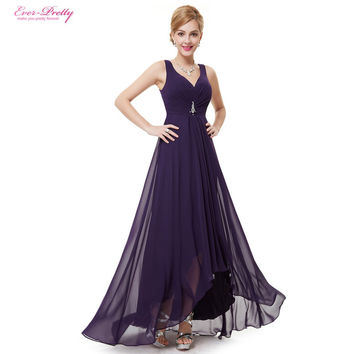 Formal Evening Dresses EP09983 Ever Pretty 2016 New Arrival Real Photo Plus Size Double V Neck Rhinestones Long Evening Dress