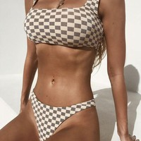 Beach Swimsuit New Arrival Hot Summer Sexy Plaid High Waist Swimwear Strong Character Bikini