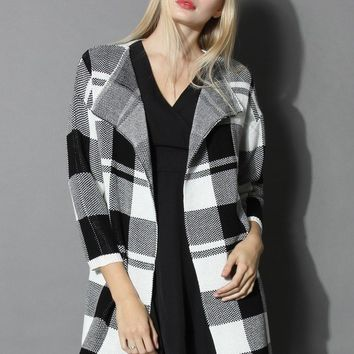 Knit in Classic Check Open Coat